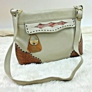 Miss Tony Lama Purse Off white Brown Lizard Skin